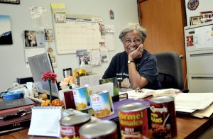 Pearl Bates at her desk