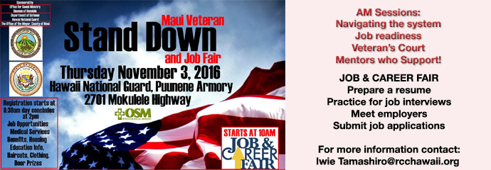 2016 Maui Veterans Stand Down & Job Fair